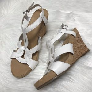 Aerosoles White Wedge Sandals 9.5 M